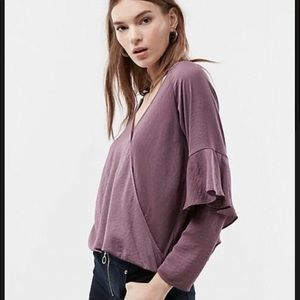 NWT Express M solid surplice satin ruffle top